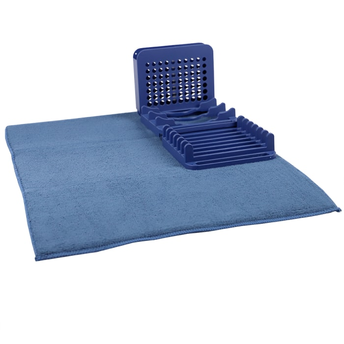 Super Absorbent Microfiber 3 Section Plastic Indigo Dish Drying Rack