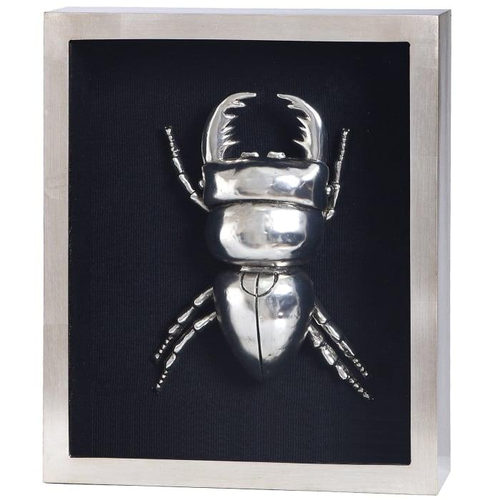 Silver Beetle I Shadow Box Framed Wall Art