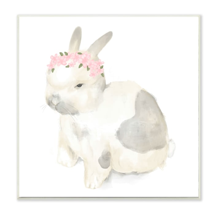 Sleepy Floral Crown Bunny Illustration Nursery Animal Wood Wall Art