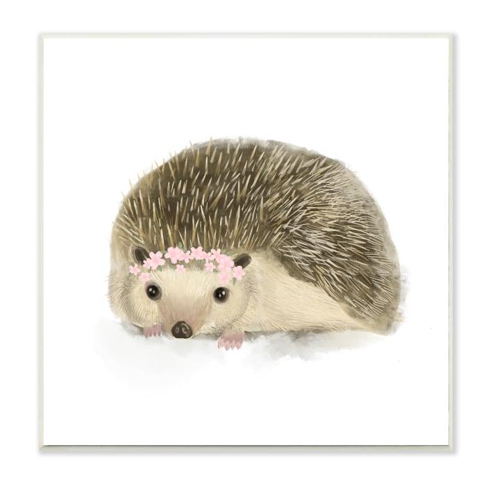 Cute Floral Crown Hedgehog Nursery Woodland Animal Wood Wall Art