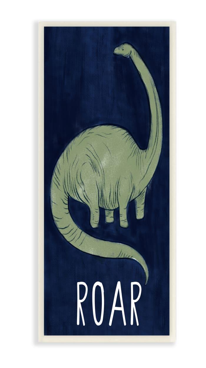 Tall Green Dinosaur Roar Text Over Blue Wood Wall Art