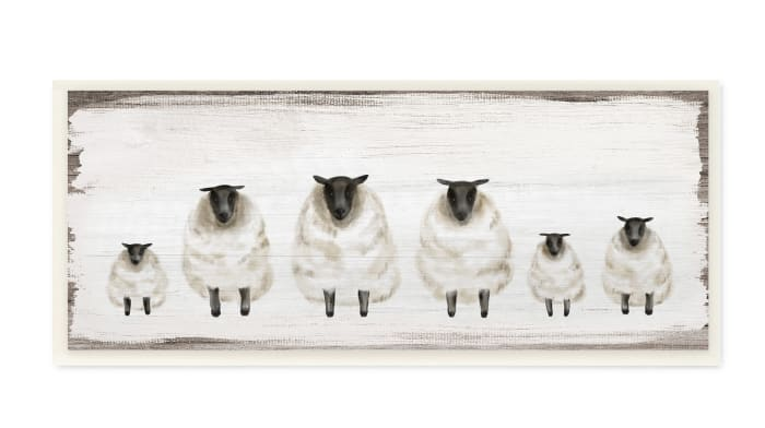 Fluffy Farm Sheep Herd Rustic Country Animals Wood Wall Art