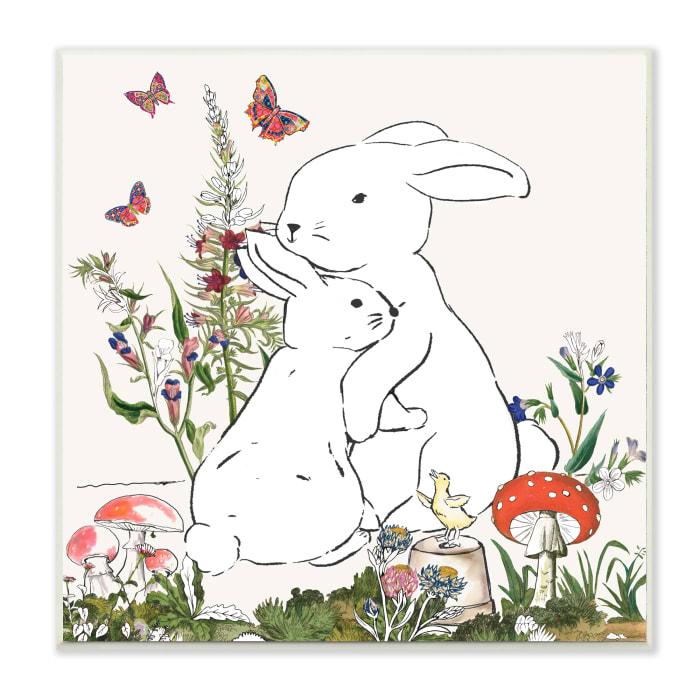 Rabbit Hugs in Spring Meadow Butterfly Garden Wood Wall Art