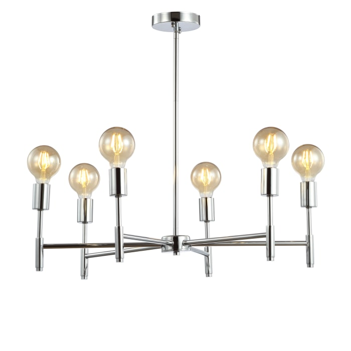 Adjustable Height Metal LED Pendant, Chrome