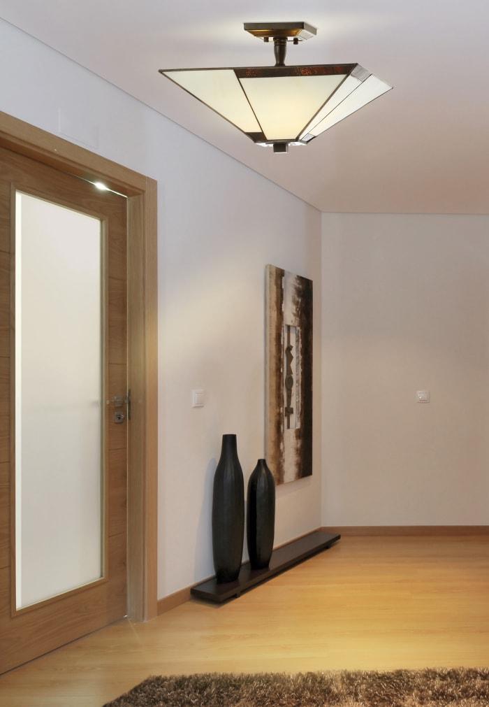 Tiffany-Style Glass/Metal LED Semi-Flush Mount, Ivory/Black
