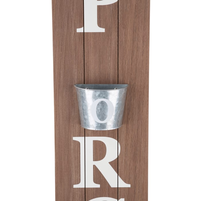 Welcome to Our Porch Wooden with Metal Planter Porch Sign