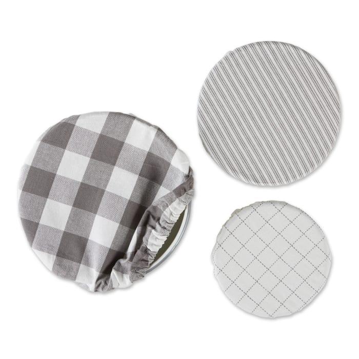 Barn Gray Farmhouse Woven Set of 3 Dish Covers