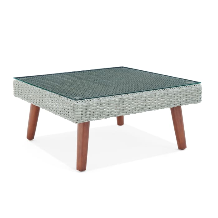 Albany All-Weather Wicker Outdoor Glass Top Square Coffee Table