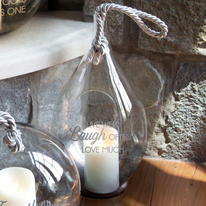 Live Laugh Love Smoke Glass Lantern