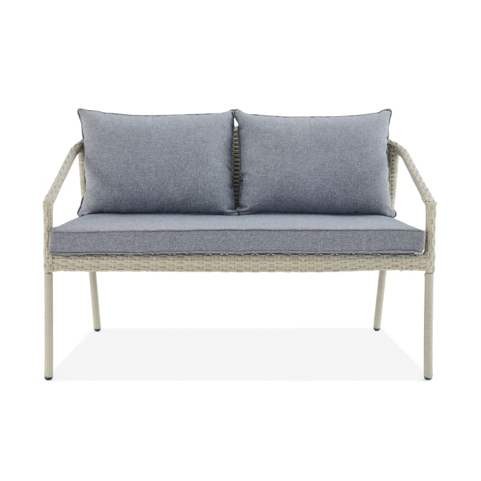 Windham All-Weather Wicker Two-Seat Outdoor Bench with Cushions