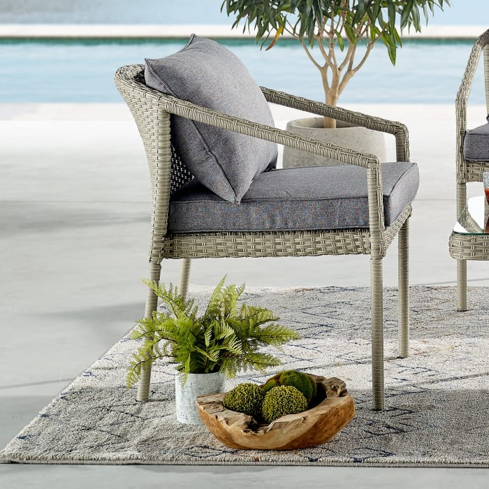 Windham All-Weather Wicker Light Gray  Set of 2 Patio Chairs with Cushions
