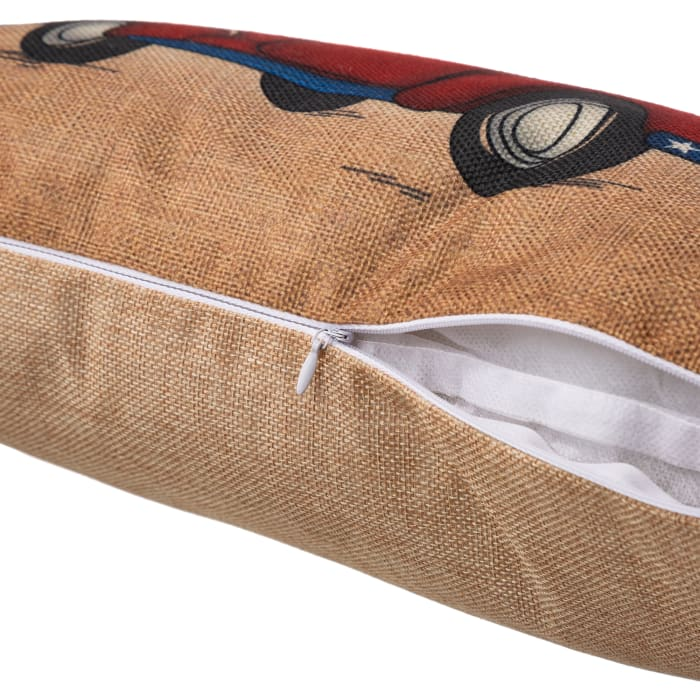 Faux Burlap Patriotic Truck Pillow
