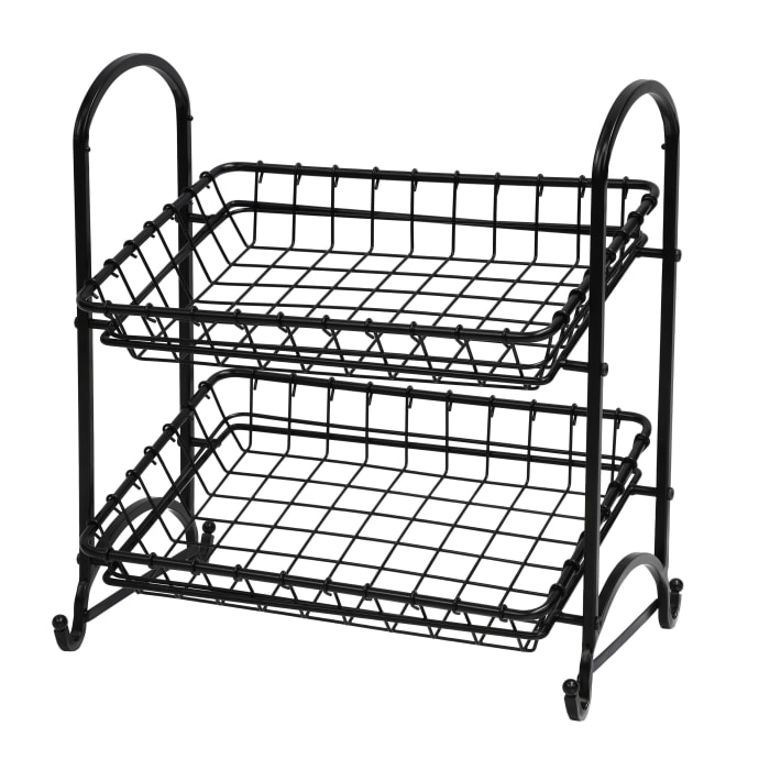 2 Tier Metal Hand Crafted Basket Removable Baskets