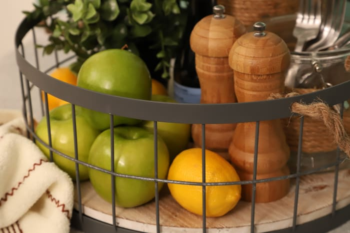 Wooded Base and Handles Set of 2 Wire Baskets