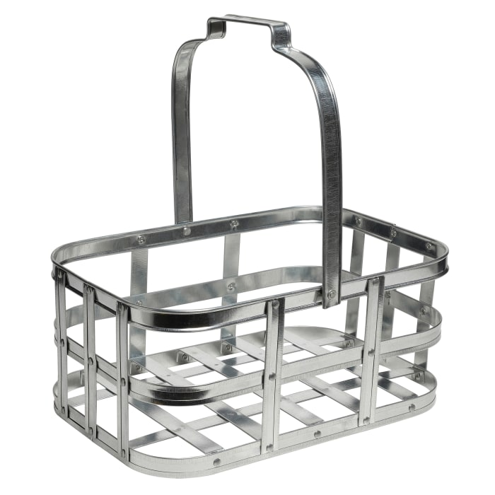 Galvanized for Storage with Handle  Metal  Basket
