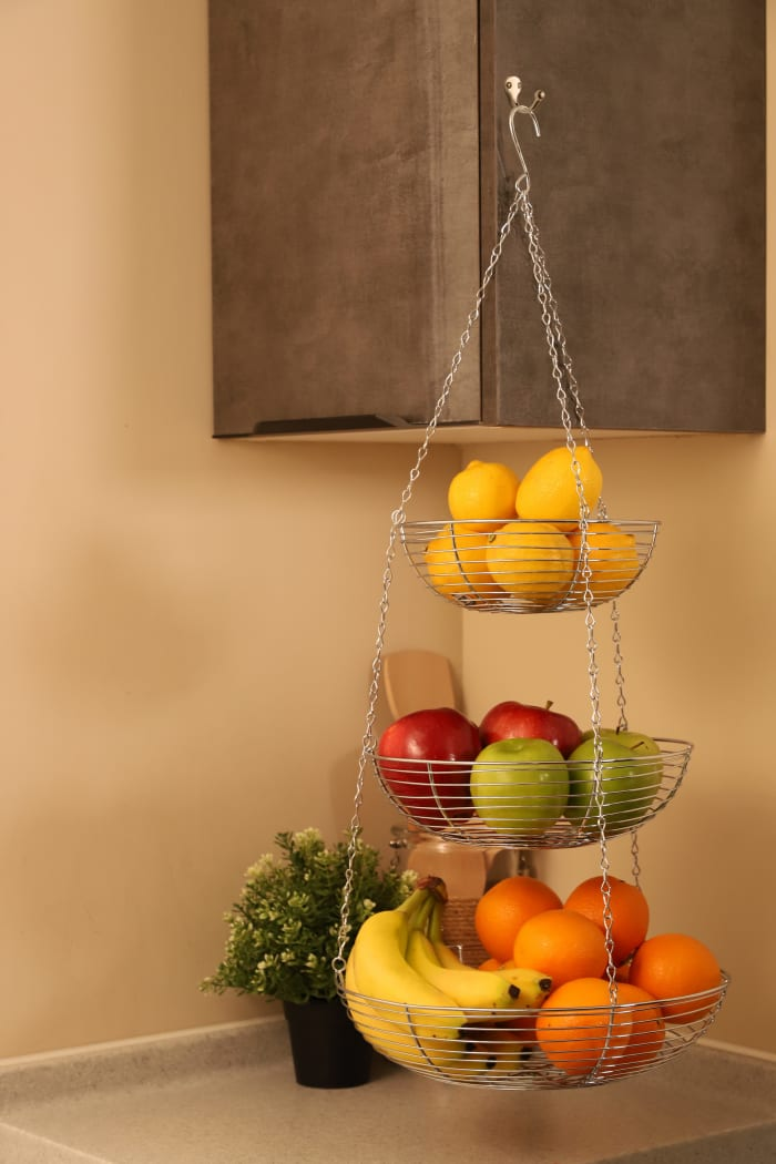 3 Tier Hanging Metal in Silver Chrome Basket