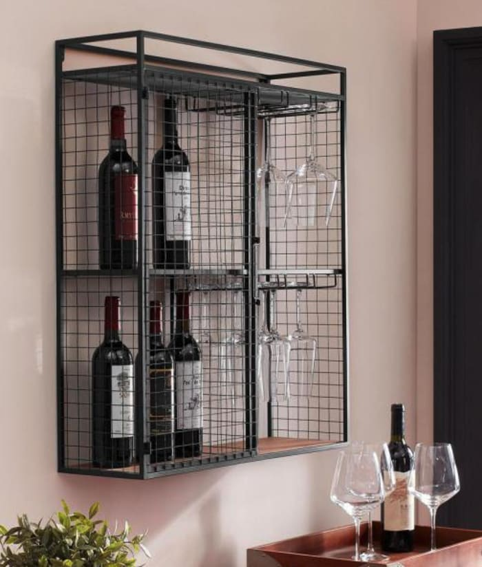 Two Shelf Metal and Wood Wine Cabinet
