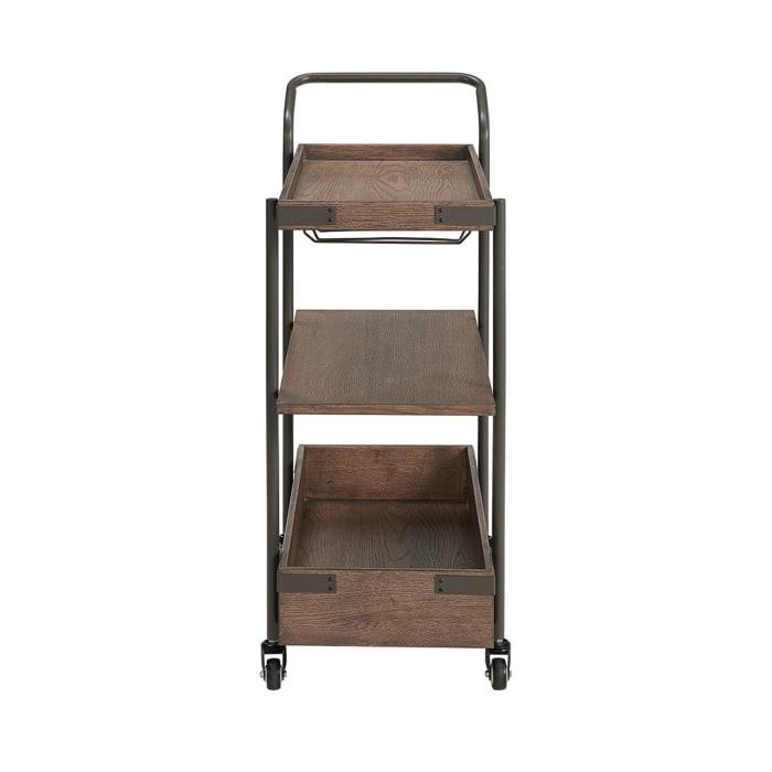 Kyra Oak and Metal Bar Cart