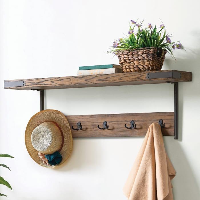Kyra Oak and Metal Coat Hook with Shelf