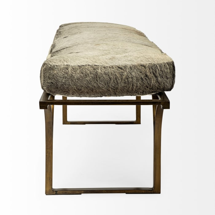 Jessie White and Gray Hair On Leather Seat with Gold Metal Base Accent Bench