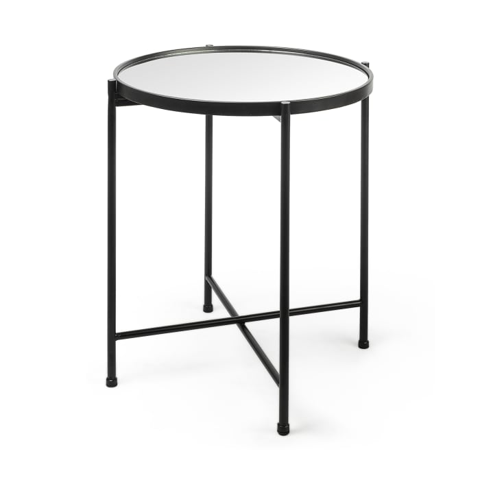 Samantha (Small) Black Mirror Top  Accent Table