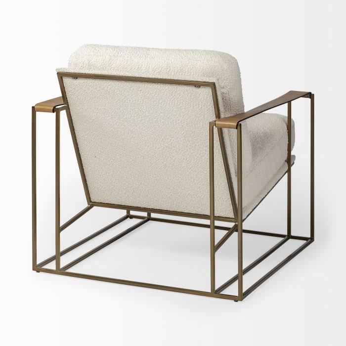 Watson Cream Fabric Wrap Gold Metal Frame Accent Chair