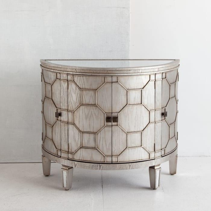Oppsola Silver 4-Door Wooden Mirror Top Accent Cabinet