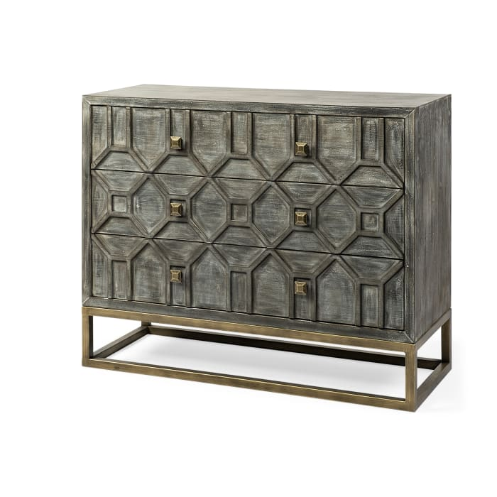 Genevieve I Gray 3-Drawer Wood And Metal Base Accent Cabinet