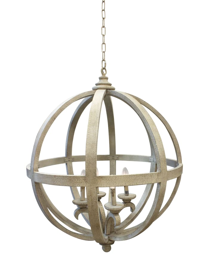 Fixture In Wood and Iron White Antique Finish Florence Pendant Light