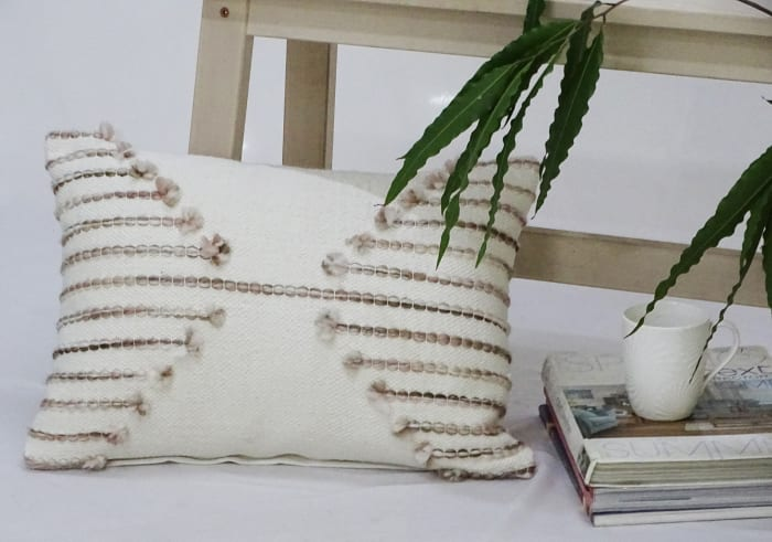 Embroided Pink Throw Pillow
