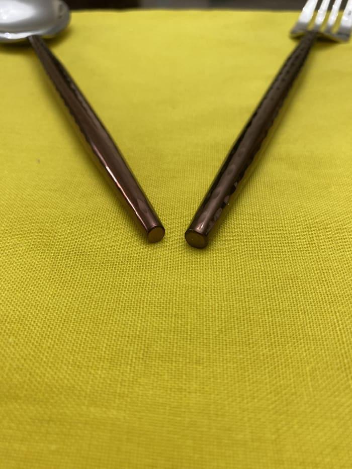 Hammered Stainless Steel Brown 20 Piece Flatware Set