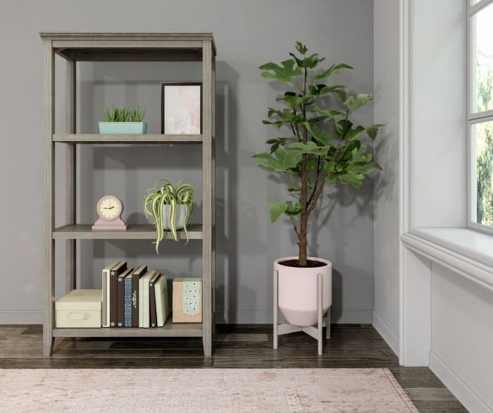 NewRidge Washed Grey 3-Tier Tall Wooden Bookcase