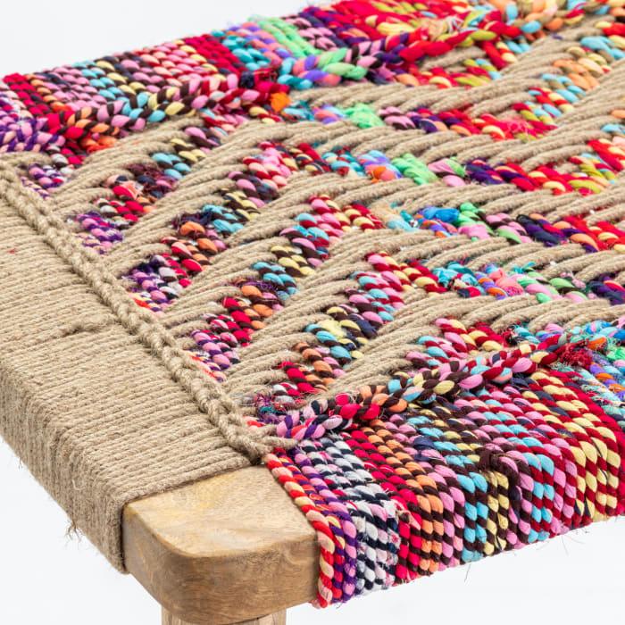 Maia Multi-Colored Hand Woven Chindi Bench