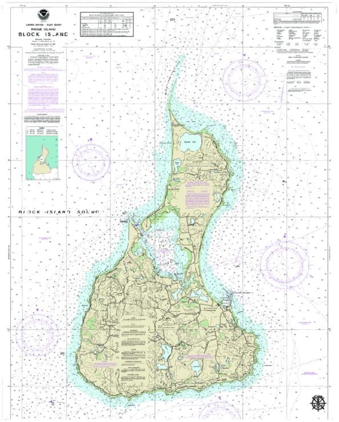 BLOCK ISLAND, RI NAUTICAL CHART Wall Accent