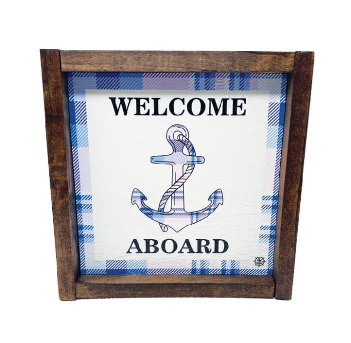 FRAMED WELCOME ABOARD ANCHOR Wall Accent