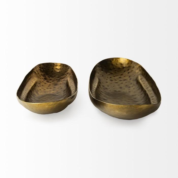 Karmen Gold Hammered Set of 2 Bowls