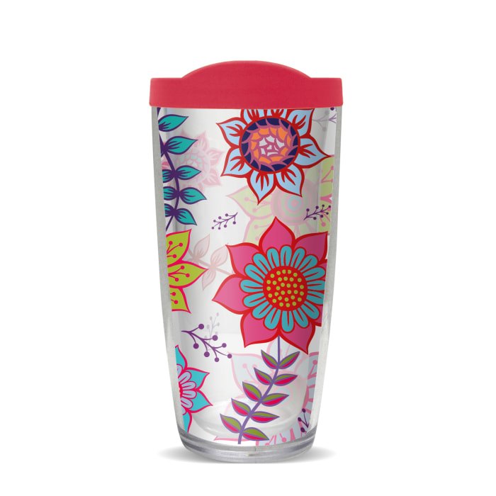 Colorful Spring Floral Fuchsia Lid Tumbler