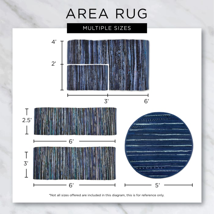French Blue Variegated Plaid Recycled Yarn Floor Runner