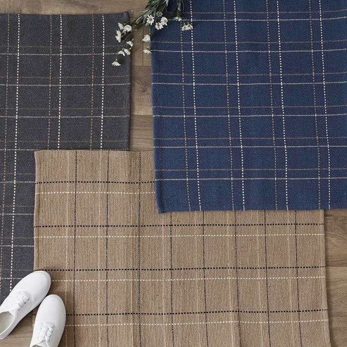 Stone Variegated Plaid Recycled Set of 2 Yarn Rug