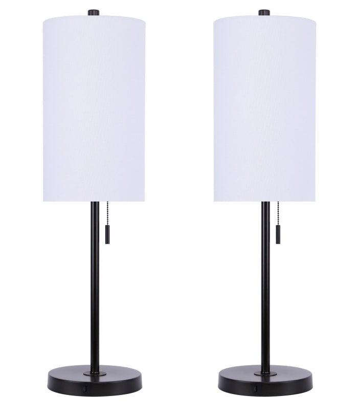 Oil Bronze with USB Port & White Linen Shade Set of 2 Table Lamps