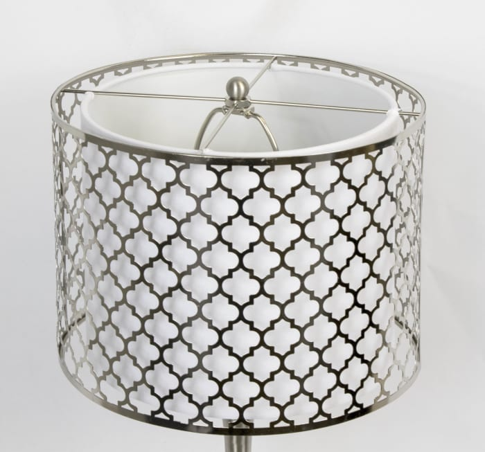Brushed Nickel with Double Layer Metal Quatrefoil Shade Accent Table Lamp