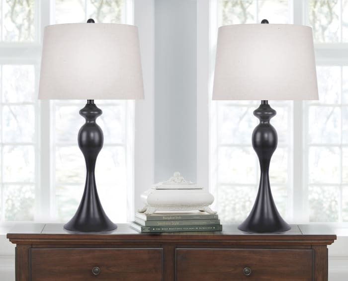 Oil Bronze with Beige Linen Shades Set of 2 Table Lamps