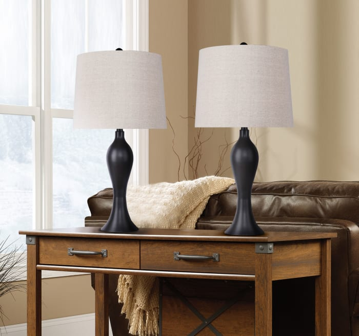 Oiled Bronze ft. Curvy Seamless Hourglass Body and Oatmeal Linen Tapered Drum Shade Set of 2 Table Lamps
