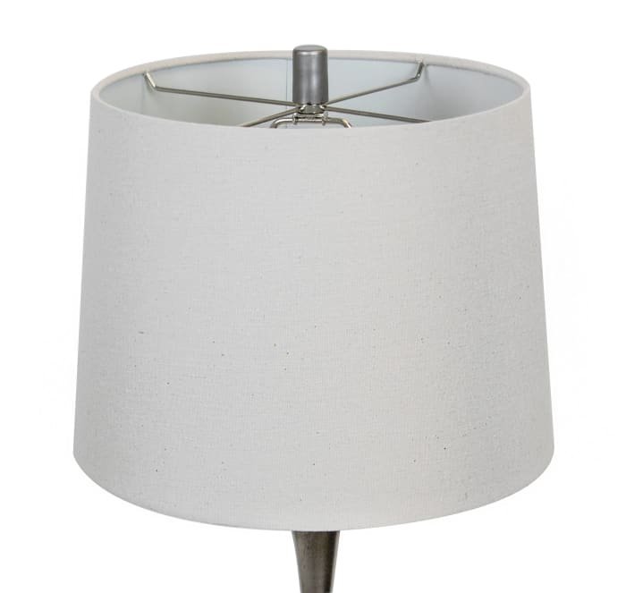 Vintage Metal  ft. Modern Angular Hourglass Body and Natural Linen Tapered Drum Shade Set of 2 Table Lamps