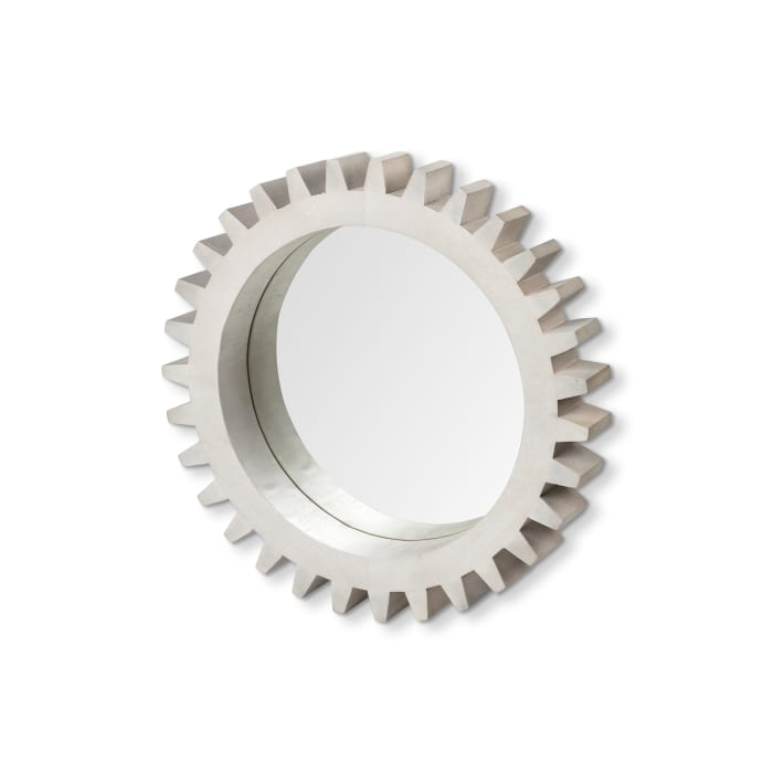 Sterling Cog II Round White Wood Frame Mirror