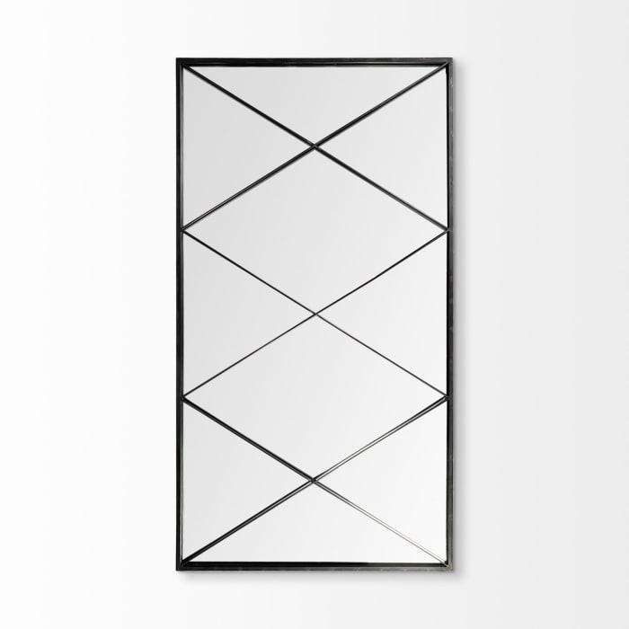 Krissta Rectangular Black Metal Frame Mirror