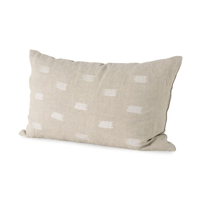 Lacey 13 x 21 Beige/White Decorative Pillow Cover