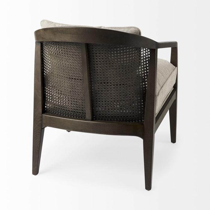 Landon Dark Brown Wood With Gray Fabric Seat and Cane Back Accent Chair