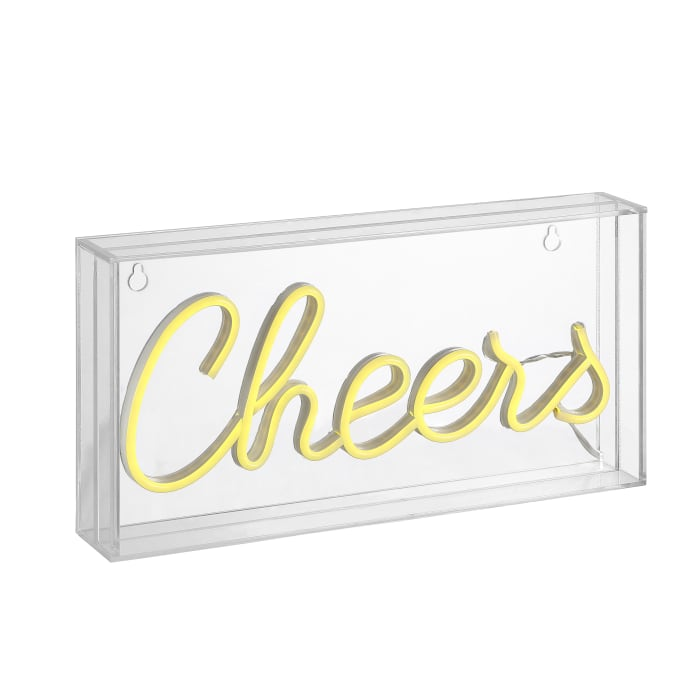 Cheers Contemporary Glam Acrylic Box USB Operated LED Yellow Neon Light