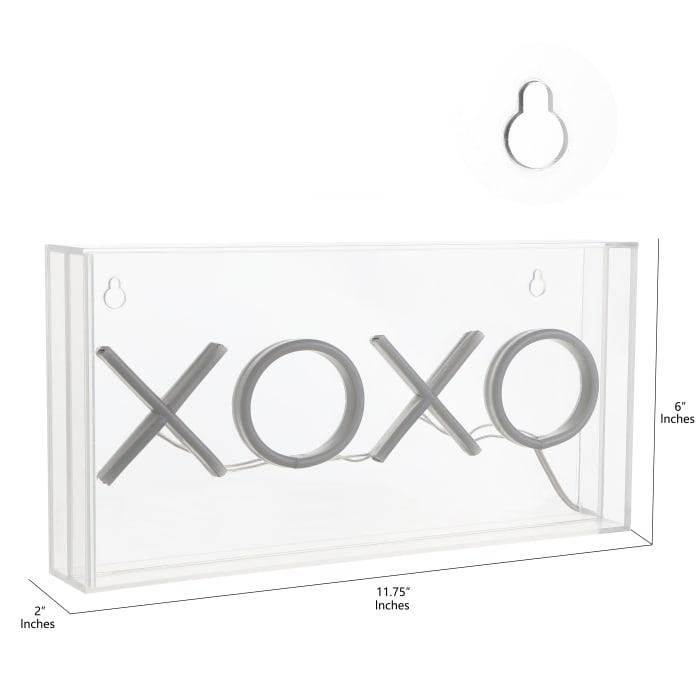 XOXO Contemporary Glam Acrylic Box USB Operated LED Pink Neon Light